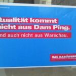 Rassistische Werbung der Handwerkskammer (Satirisch auf die Spitze getrieben. Das Original kommt ohne den Part mit Warschau aus.)
